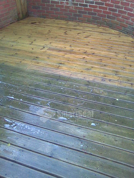 Partial clean of decked patio