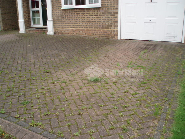 Block paved driveway before